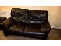 chocolate leather sofas with footstool