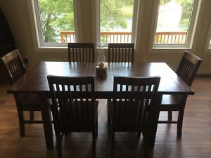 Solid Reclaimed Wood 7 Piece Dining Set