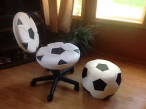 Soccer chair and stool together