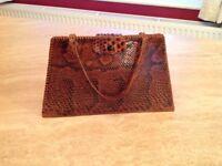 Vintage snake skin ladies tote bag