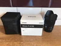 Immaculate Sigma 35mm F1.4 DG HSM Lens for Canon