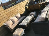 Outdoor garden patio set - Dark Brown and tan - Delivery available