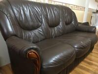 Brown Leather Sofa set 3 seater + 2 single