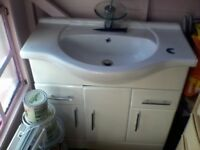 BATHROOM SINK, WITH CABINET, TAP,.