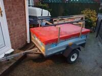 Galvanised trailer + cover/spare wheel/roofbars/bike racks