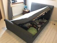 Double Sleigh Bed with great storage - Wilson Grey Fabric Ottoman Bed