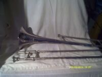"A "" BESSON "" TROMBONE in SILVER PLATE plus MOUTHPIECE & GOOD CASE ? +++++++++"