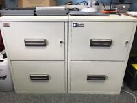 2 x Chubb Fireproof 2 Drawer Filing Cabinets