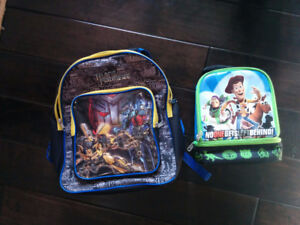 Transformers back pack and Toy story lunch kit for children