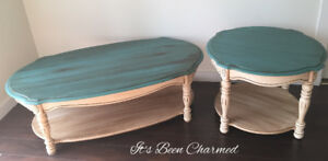 Refinished oak coffee table & end tables