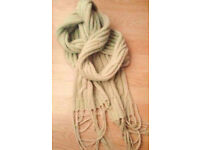 "Ladies 110"" Long Green Cable Knit Fringed Wool Look Winter Scarf."