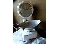 Vintage enamelled counter top shop weighing scales