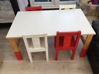 Ikea children's table and four chairs