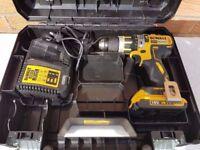 DeWALT dcd795 BRUSHLESS 18v li-ion combi drill , 1x2ah battery, rapid charger. tstak case