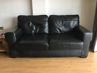 Black Leather Sofa for sale - with delivery