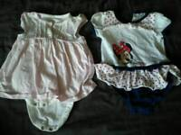 Baby girl 3-6 bodysuit dresses - floral & Disney Minnie Mouse