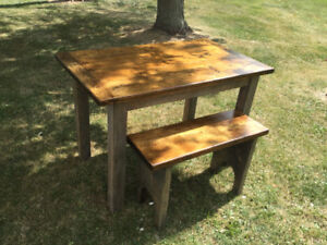 RUSTIC TABLE AND BENCH SET