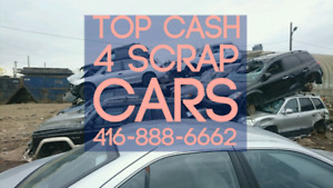 TOP MONEY FOR ALL UNWANTED SCRAP JUNK VEHICLES,  CALL 24HOURS