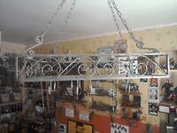 Hanging ceiling pot rack.