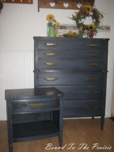 Beautiful Antique Dresser & Nightstand REfurbished~Aged Blue