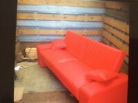 Bed settee faux leather red good condition