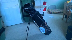 Golf Bag with Clubs, 1 Golf Ball, and Stands