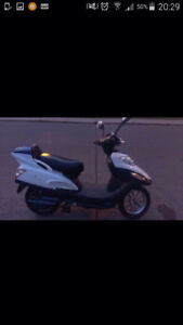 White EBike in mint condition, helmet included