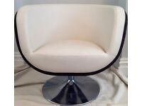 Gorgeous Italian Leather Rattan Shell Swivel Chair -