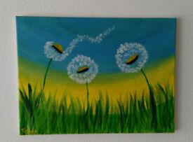 Acrylic Painting Dandelion Art Original