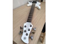 Yamaha TRBX305 5 String Bass White 2 months old never gigged with loads of accessories included