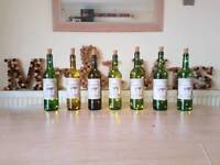8 x Wine bottle wedding table numbers names with LED fairy lights