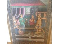 LOVELY HAND PAINTED FABRIC PRINT - WITH FANTASTIC INTRICATE DETAIL (EXCELLENT CONDITION)