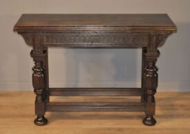 Attractive Large Antique Victorian Carved Oak Hall Console Table with Drawer