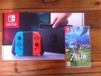 Nintendo Switch (NEON) BOXED w/travel case, 32gb micro SD and The Legend of Zelda: BotW