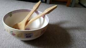 Marks and Spencer Wild Fruits Salad bowl with wooden servers