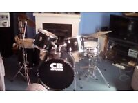 Great Black CB Full Size 8 Piece Drum Kit