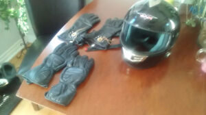 Bluetooth Helmet & 2 Pairs of Leather Riding Gloves ($75 OBO)