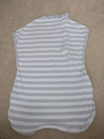 SwaddleMe grey and white striped lightweight swaddle for 12-18lb