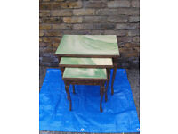 Nest Of 3 Tables insert onyx Antique Retro Vintage 70's #FREE LOCAL DELIVERY#