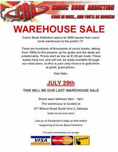 Last Warehouse Sale - at Comic Book Addiction - July 29th