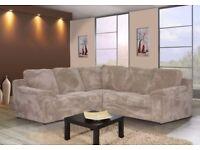 New Amy jumbo cord fabric corner sofa in Grey or Beige