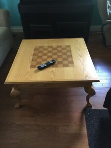 Wooden table.