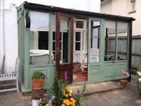 Wooden lean to conservatory/ sun room/potting area