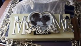 Mr & Mrs Heart Shaped Photo Frame