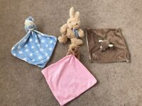 3 x baby comforters and teddy bear