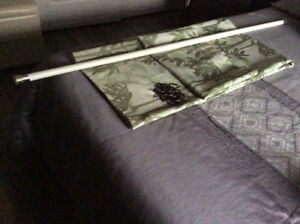 Rideau de douche,pôle recouverte,12 crochets en métal noirs