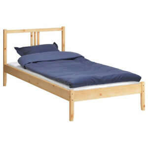 TWIN IKEA SOLID WOOD BED & NEW MATTRESS