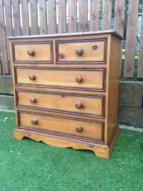 Farmhouse Pine Chest Of Drawers Refurbished