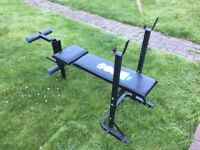 Weights and workout bench