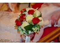 Wedding bouquet Deep Red and Ivory Silk Roses